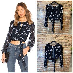 Streetwear Society Black Floral Top w/Back Cutout